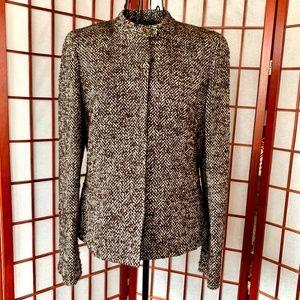 Jones New York Wool Blend Brown Twill Blazer